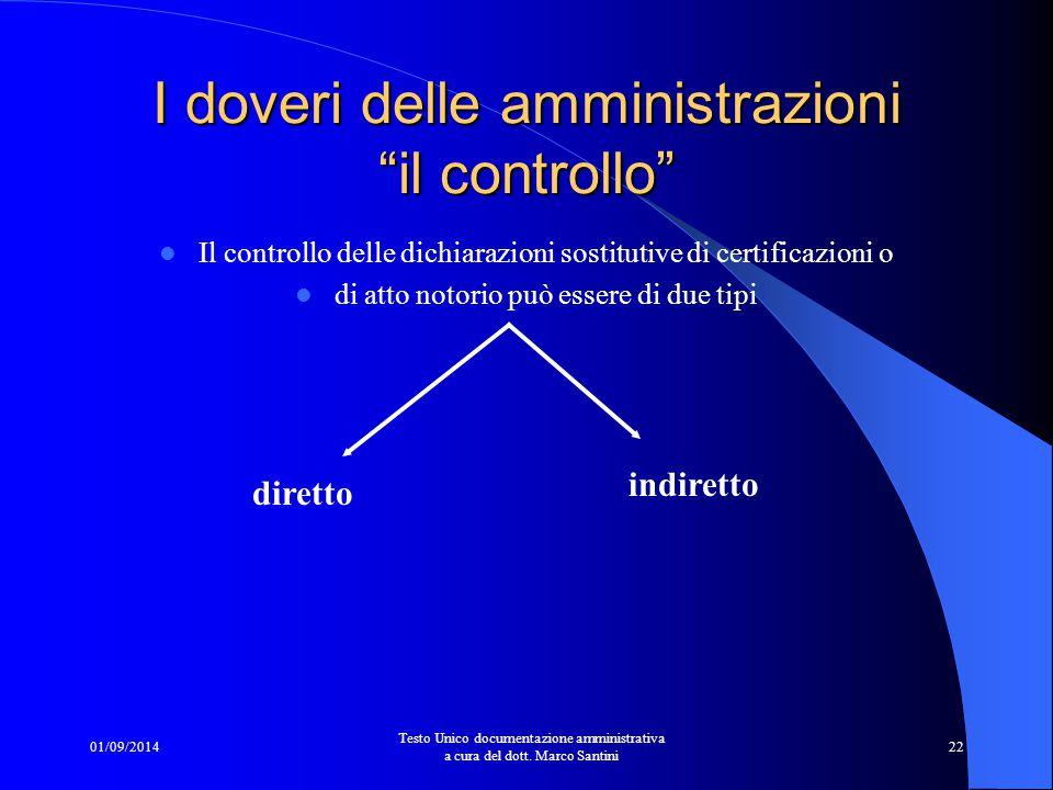 I doveri delle amministrazioni il controllo