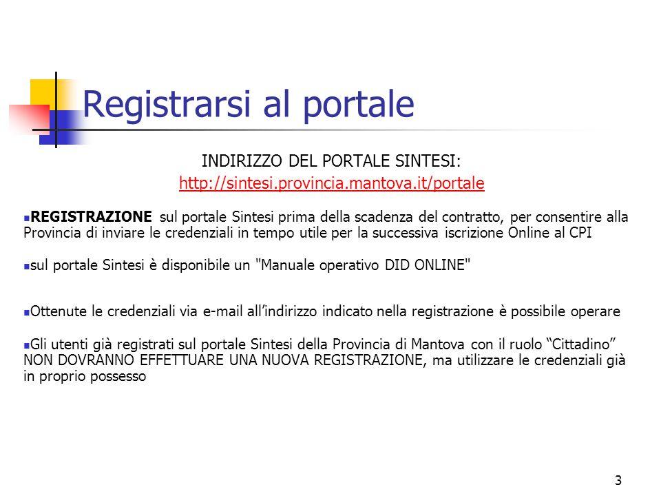Registrarsi al portale