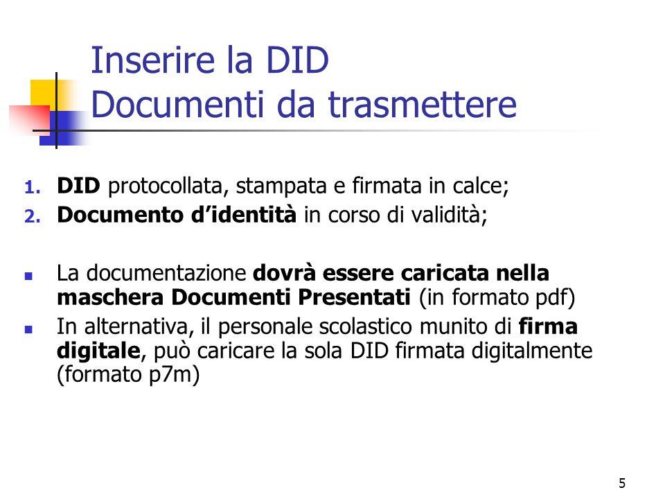 Inserire la DID Documenti da trasmettere