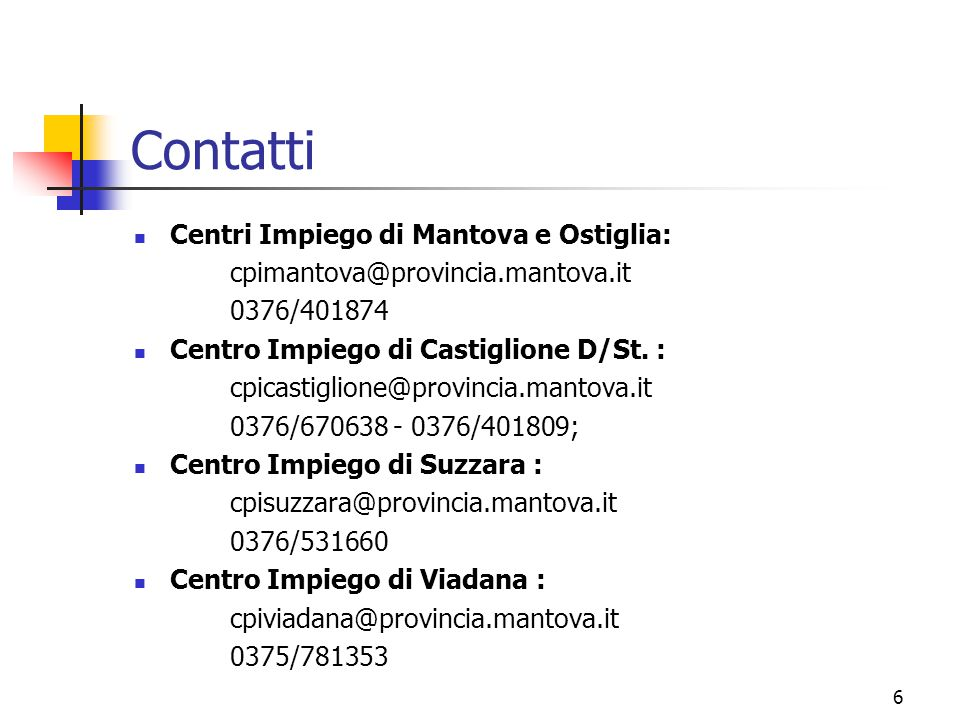 Contatti Centri Impiego di Mantova e Ostiglia: