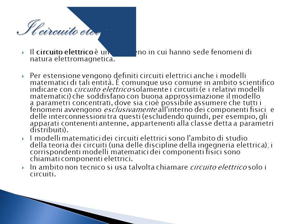 Il circuito elettrico Il circuito elettrico è un fenomeno in cui hanno sede fenomeni di natura elettromagnetica.