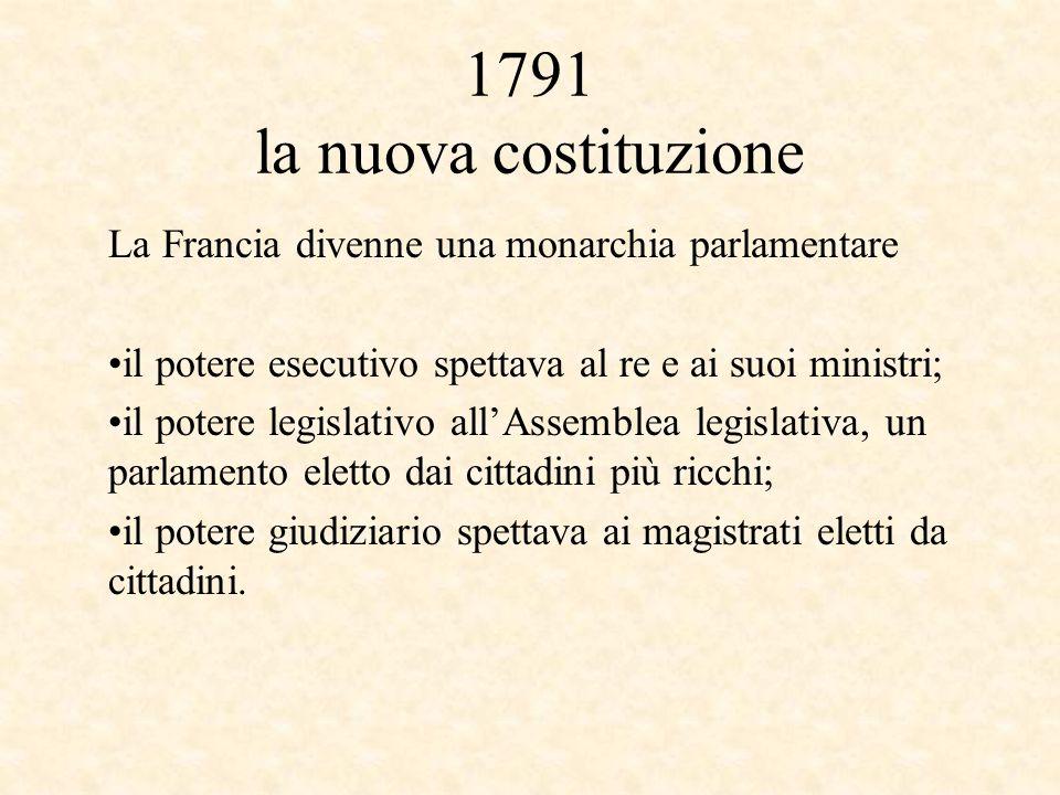 1791 la nuova costituzione La Francia divenne una monarchia parlamentare. il potere esecutivo spettava al re e ai suoi ministri;