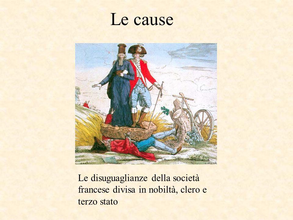 Le cause Le disuguaglianze della società francese divisa in nobiltà, clero e terzo stato
