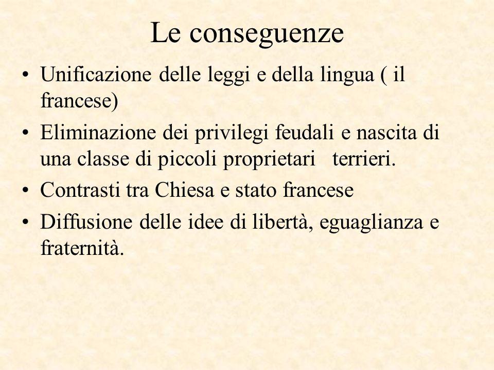 Le conseguenze Unificazione delle leggi e della lingua ( il francese)