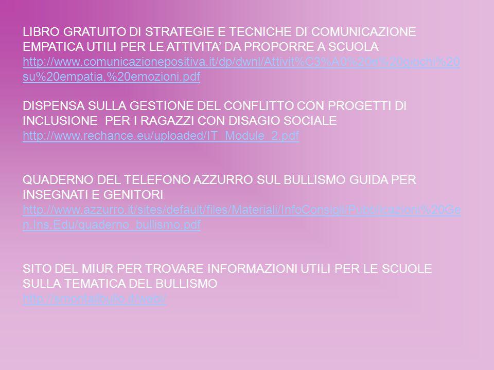 LIBRO GRATUITO DI STRATEGIE E TECNICHE DI COMUNICAZIONE EMPATICA UTILI PER LE ATTIVITA' DA PROPORRE A SCUOLA