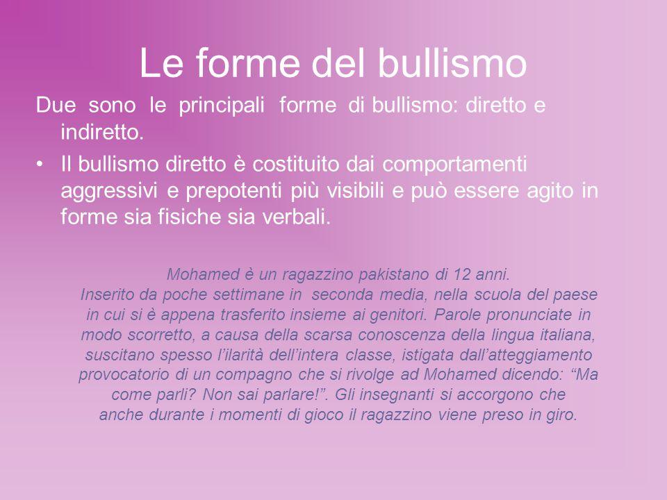 Le forme del bullismo Due sono le principali forme di bullismo: diretto e indiretto.