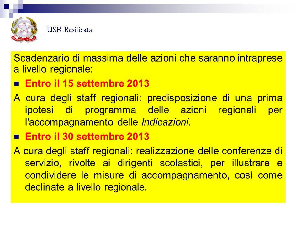 USR Basilicata Scadenzario di massima delle azioni che saranno intraprese a livello regionale: Entro il 15 settembre 2013.