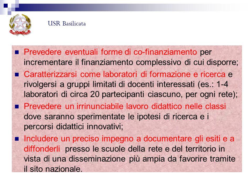 USR Basilicata Prevedere eventuali forme di co-finanziamento per incrementare il finanziamento complessivo di cui disporre;
