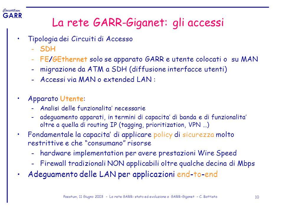 La rete GARR-Giganet: gli accessi