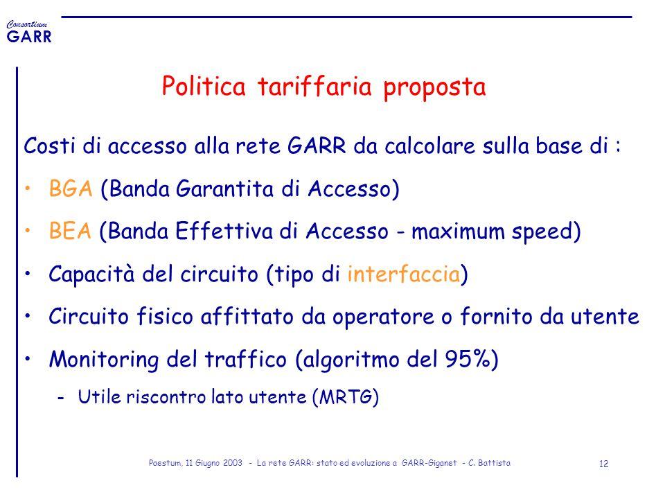Politica tariffaria proposta