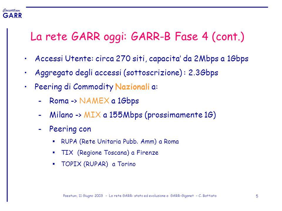 La rete GARR oggi: GARR-B Fase 4 (cont.)