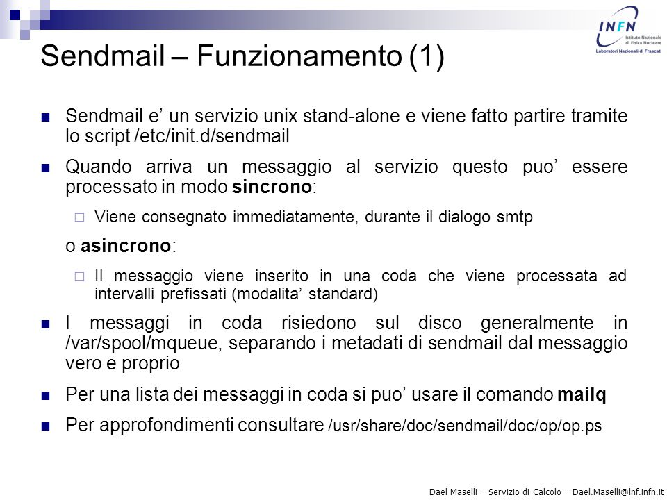 Sendmail – Funzionamento (1)