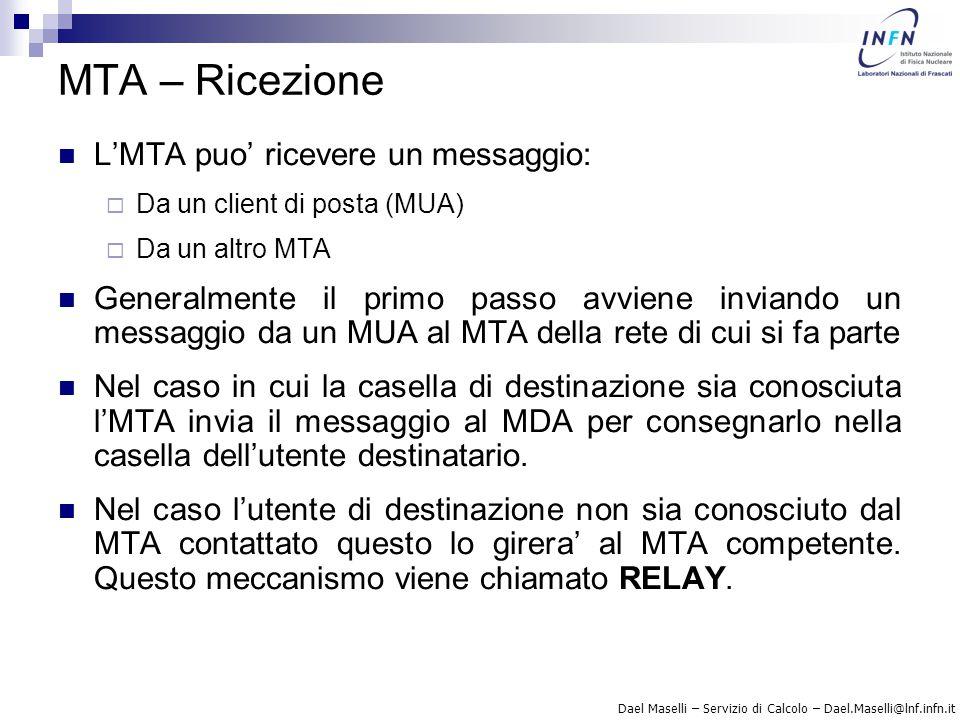 MTA – Ricezione L'MTA puo' ricevere un messaggio: