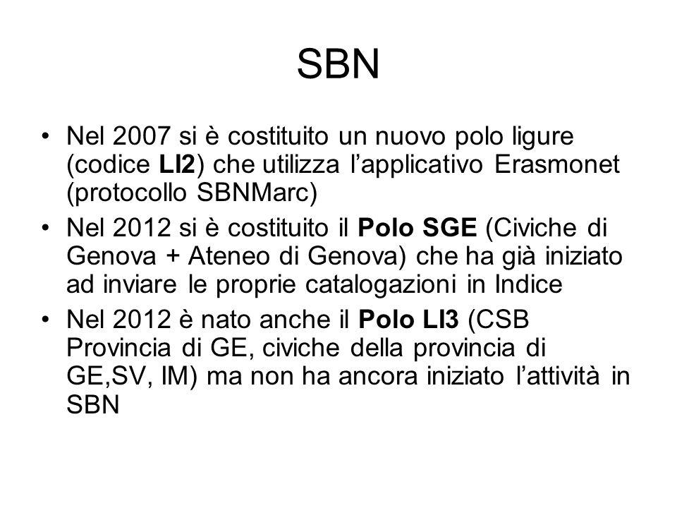 SBNNel 2007 si è costituito un nuovo polo ligure (codice LI2) che utilizza l'applicativo Erasmonet (protocollo SBNMarc)