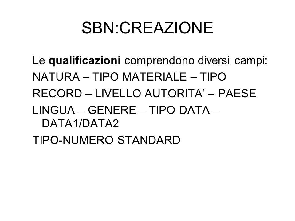 SBN:CREAZIONE Le qualificazioni comprendono diversi campi: