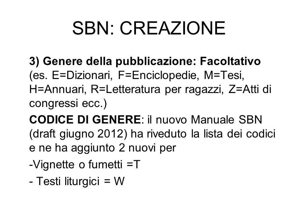 SBN: CREAZIONE