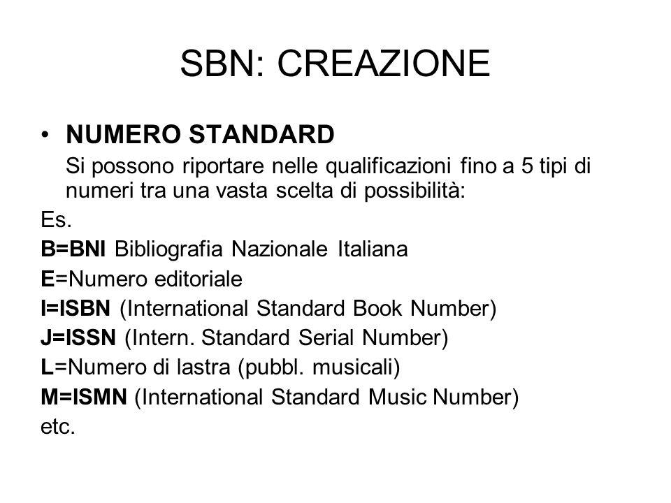 SBN: CREAZIONE NUMERO STANDARD