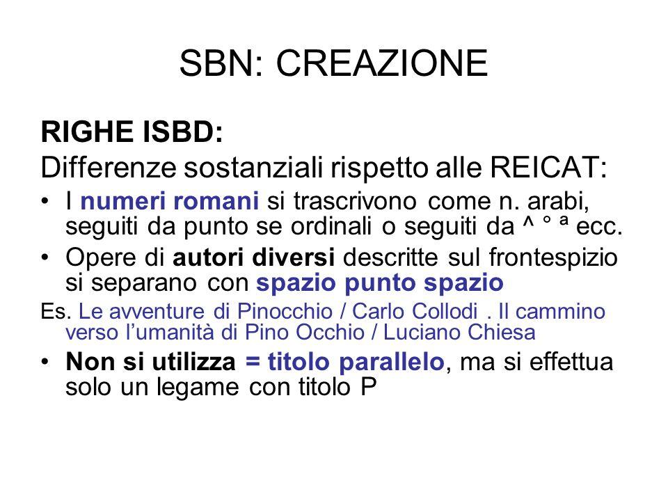 SBN: CREAZIONE RIGHE ISBD: