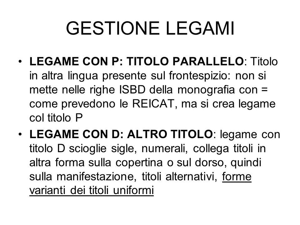 GESTIONE LEGAMI