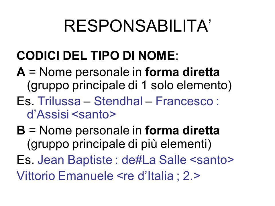 RESPONSABILITA' CODICI DEL TIPO DI NOME: