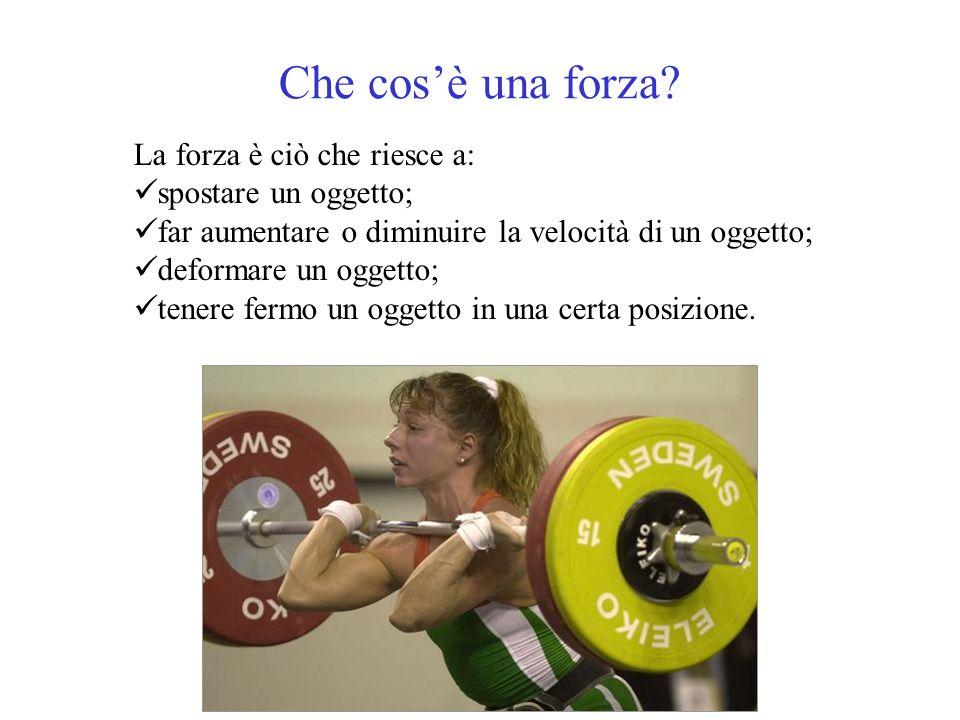 Che cos'è una forza La forza è ciò che riesce a: spostare un oggetto;