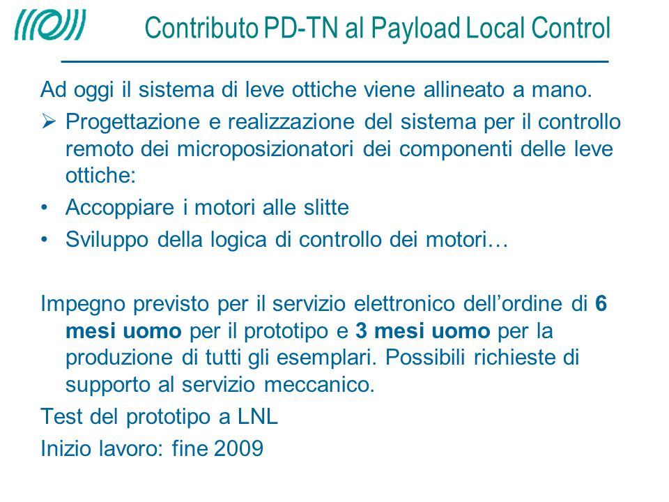 Contributo PD-TN al Payload Local Control