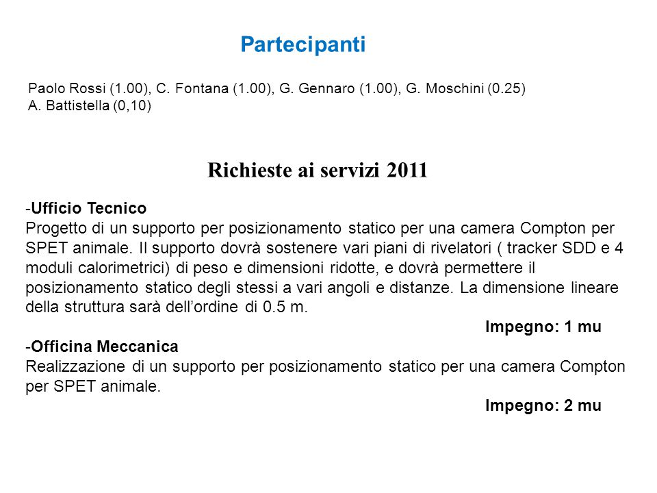 Partecipanti Richieste ai servizi 2011 -Ufficio Tecnico