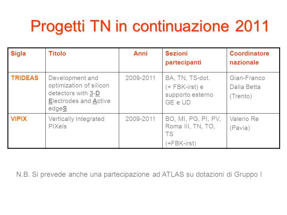Progetti TN in continuazione 2011
