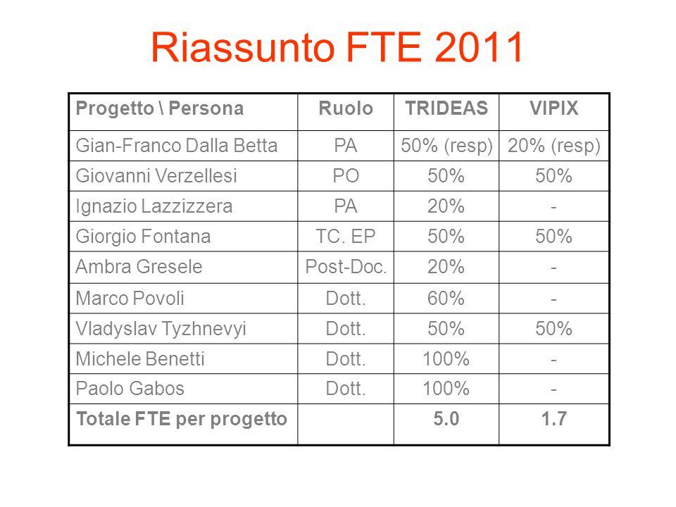 Riassunto FTE 2011 Progetto \ Persona Ruolo TRIDEAS VIPIX