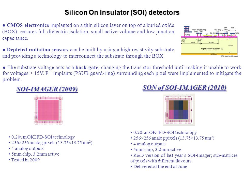 Silicon On Insulator (SOI) detectors
