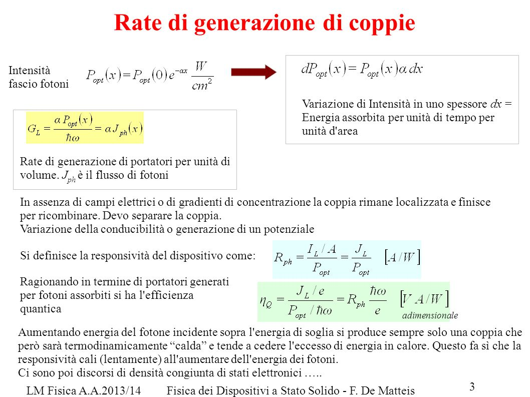 Rate di generazione di coppie