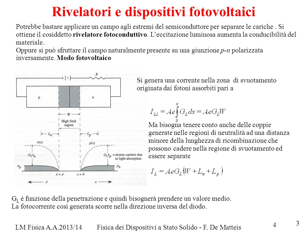 Rivelatori e dispositivi fotovoltaici