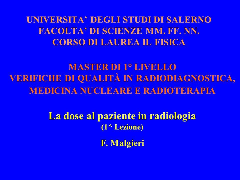 La dose al paziente in radiologia