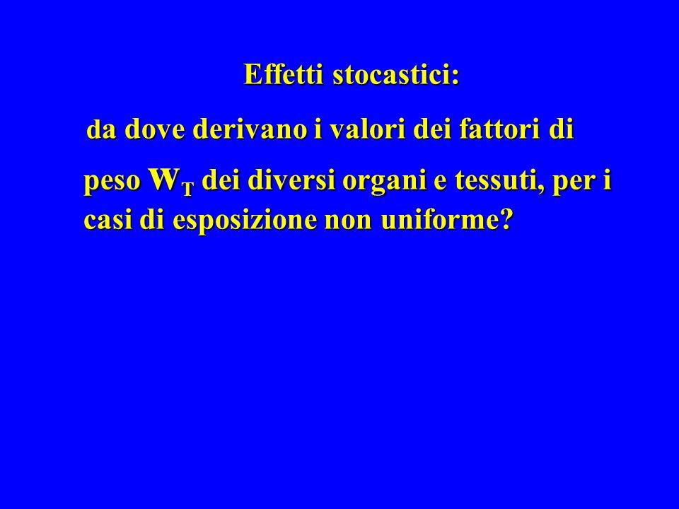 Effetti stocastici: da dove derivano i valori dei fattori di peso wT dei diversi organi e tessuti, per i casi di esposizione non uniforme
