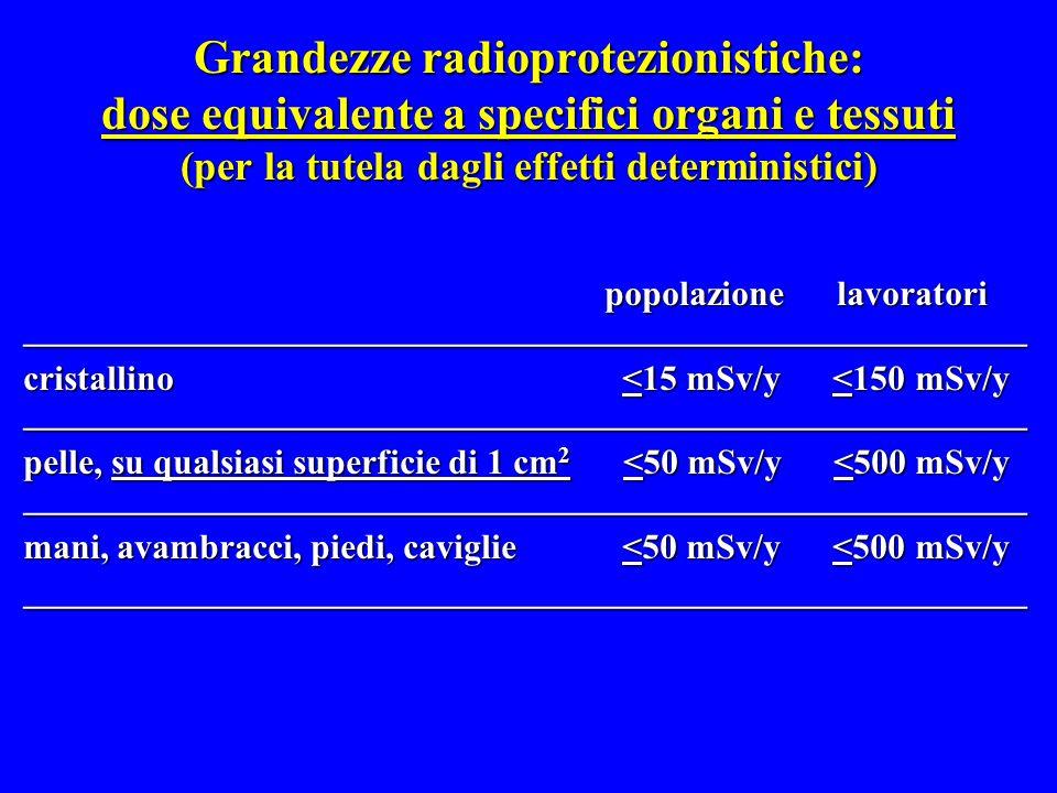 Grandezze radioprotezionistiche: dose equivalente a specifici organi e tessuti (per la tutela dagli effetti deterministici)