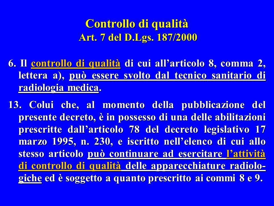 Controllo di qualità Art. 7 del D.Lgs. 187/2000