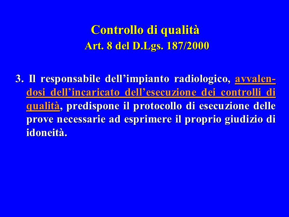 Controllo di qualità Art. 8 del D.Lgs. 187/2000