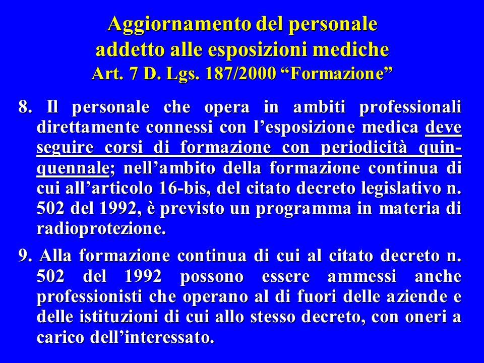 Aggiornamento del personale addetto alle esposizioni mediche Art. 7 D