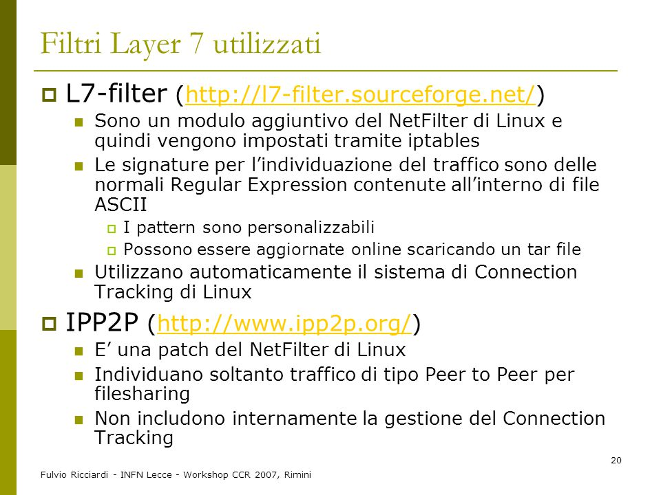 Filtri Layer 7 utilizzati