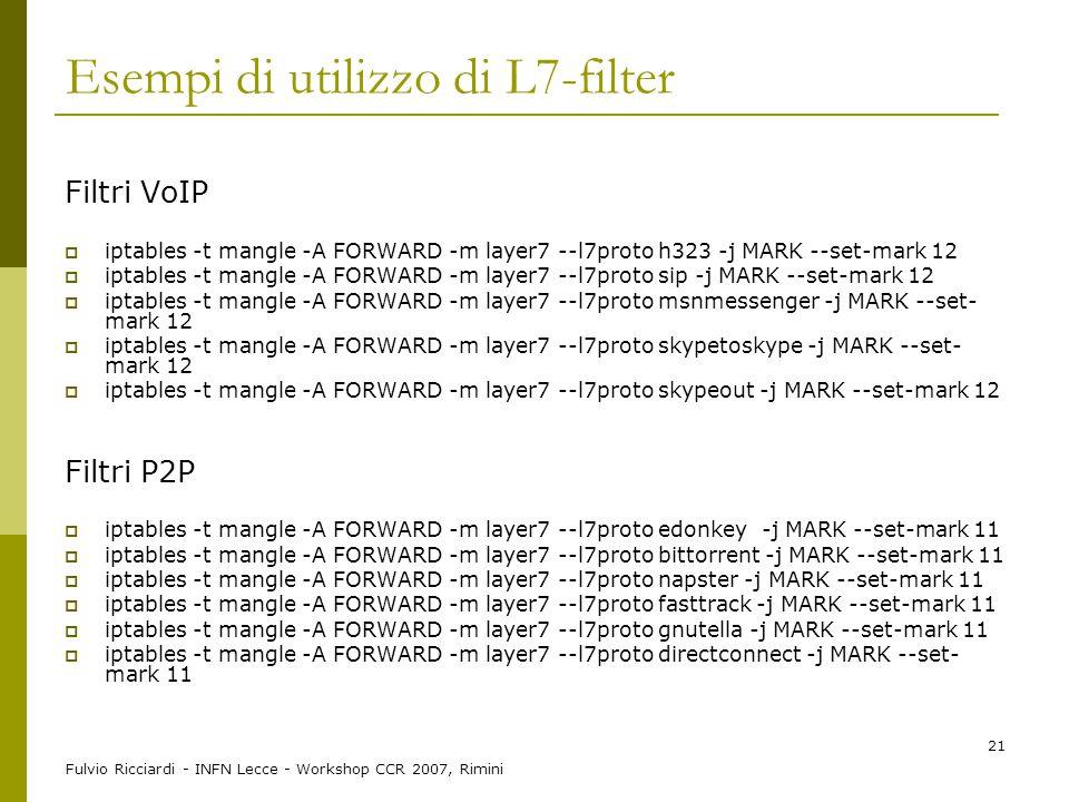 Esempi di utilizzo di L7-filter