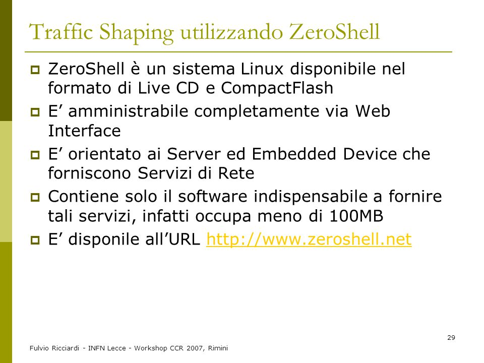 Traffic Shaping utilizzando ZeroShell