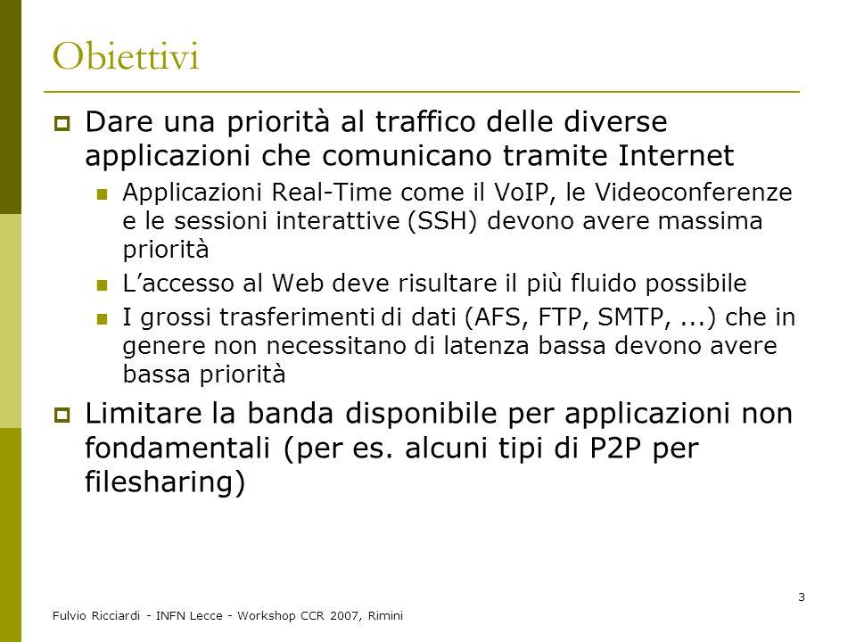 Obiettivi Dare una priorità al traffico delle diverse applicazioni che comunicano tramite Internet.