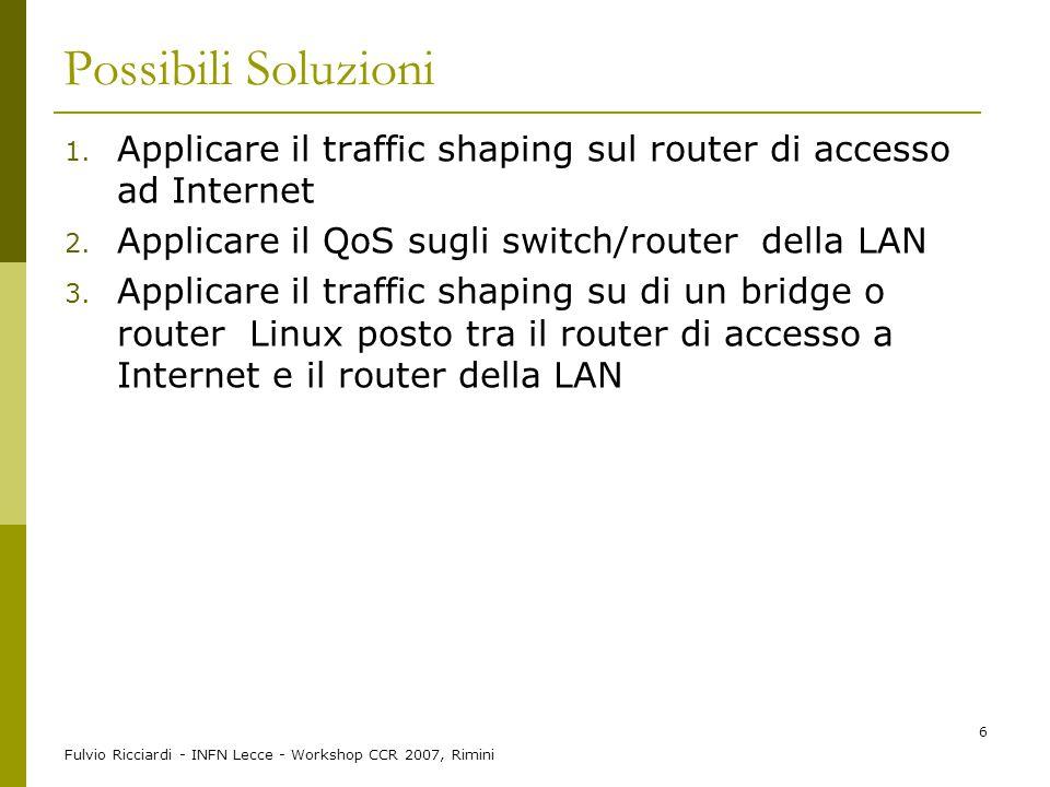 Possibili Soluzioni Applicare il traffic shaping sul router di accesso ad Internet. Applicare il QoS sugli switch/router della LAN.