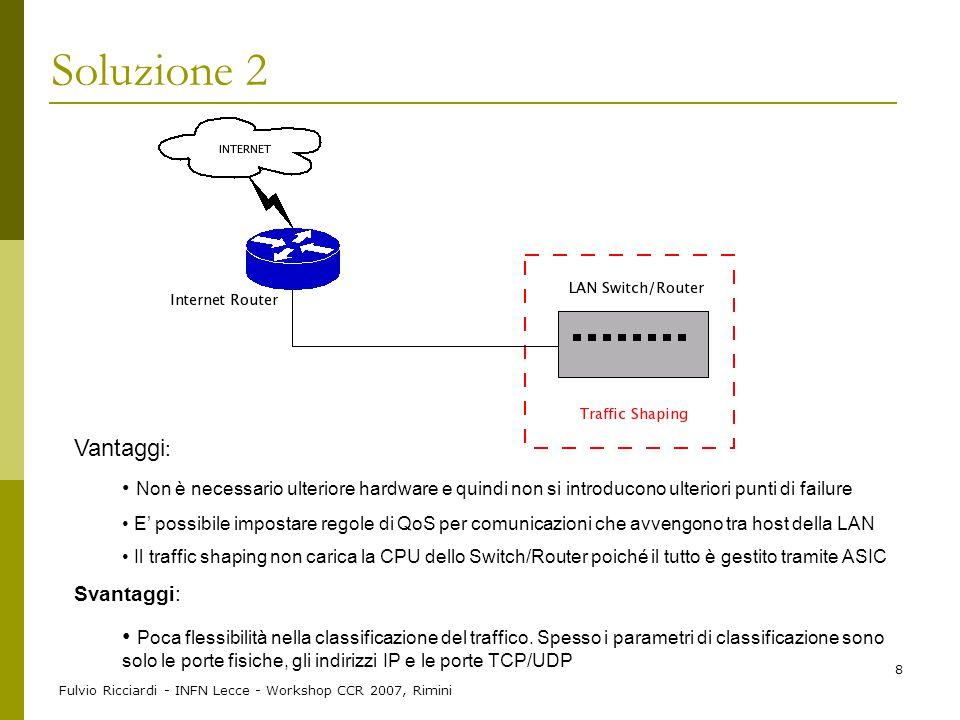 Soluzione 2 Vantaggi: Non è necessario ulteriore hardware e quindi non si introducono ulteriori punti di failure.