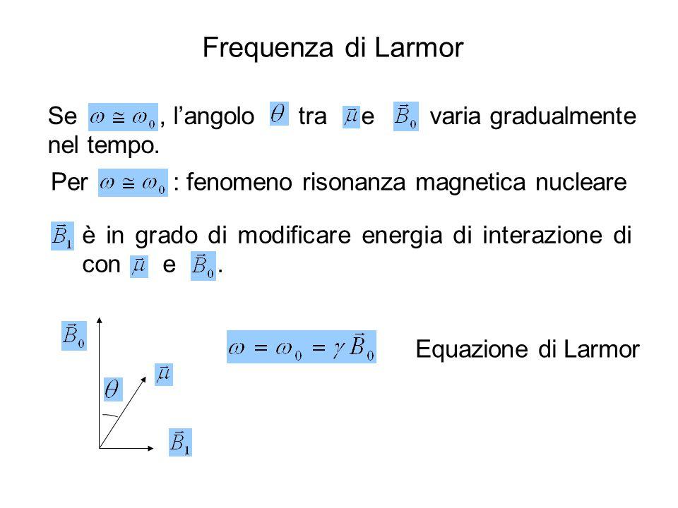 Frequenza di Larmor Se , l'angolo tra e varia gradualmente nel tempo.