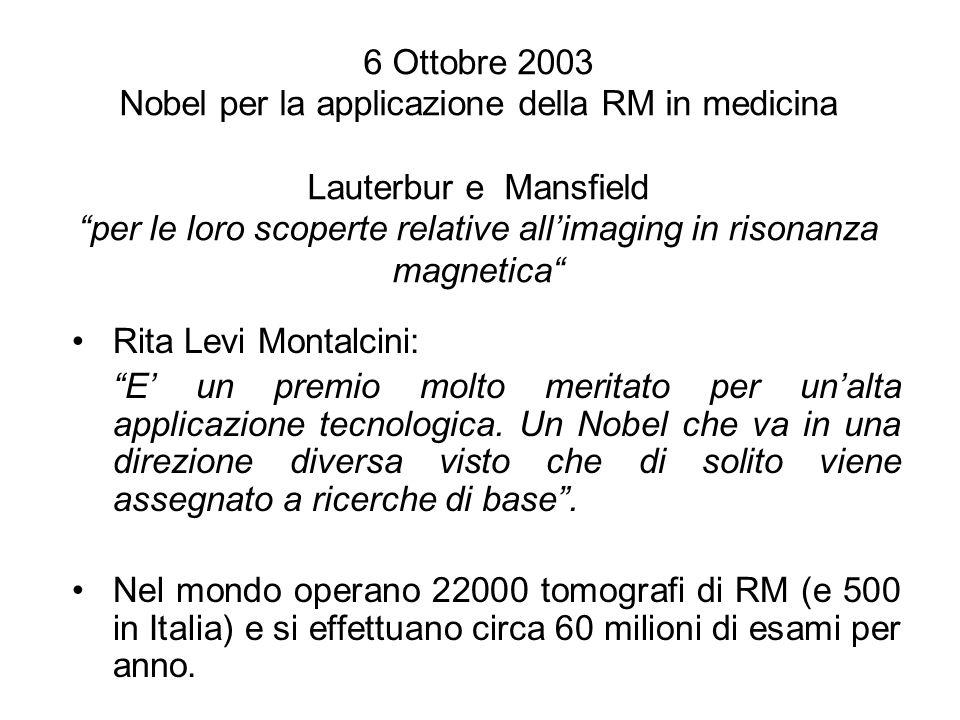 6 Ottobre 2003 Nobel per la applicazione della RM in medicina Lauterbur e Mansfield per le loro scoperte relative all'imaging in risonanza magnetica