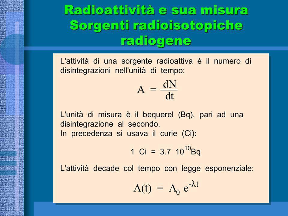 Radioattività e sua misura Sorgenti radioisotopiche radiogene
