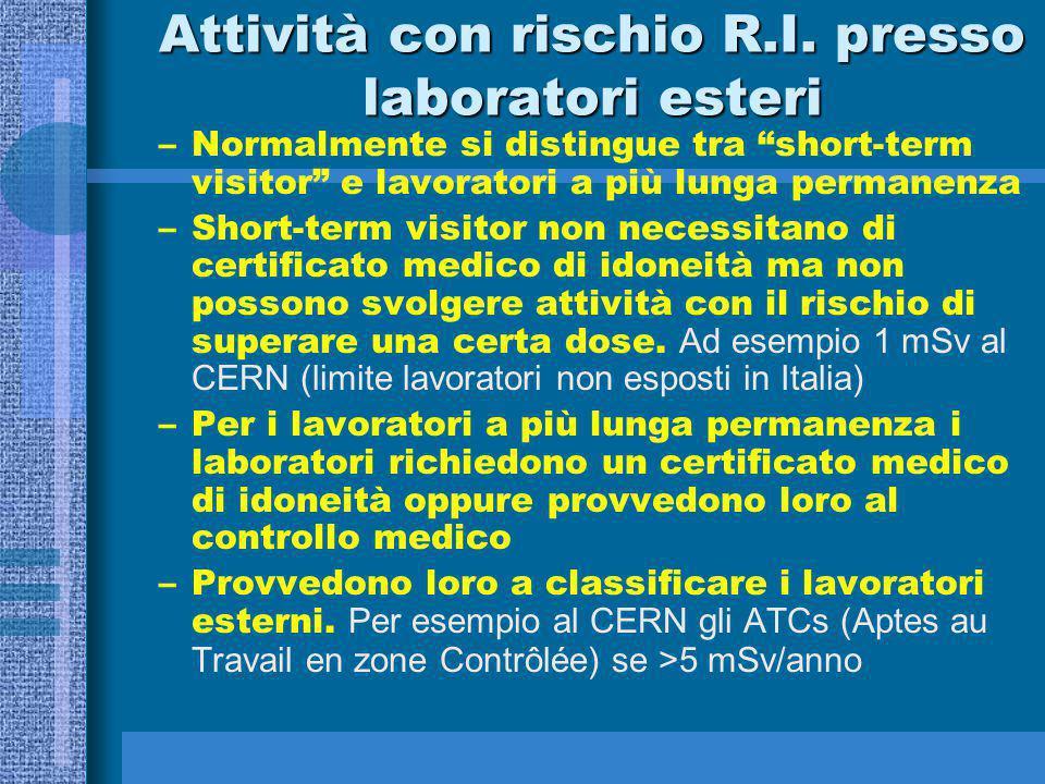Attività con rischio R.I. presso laboratori esteri