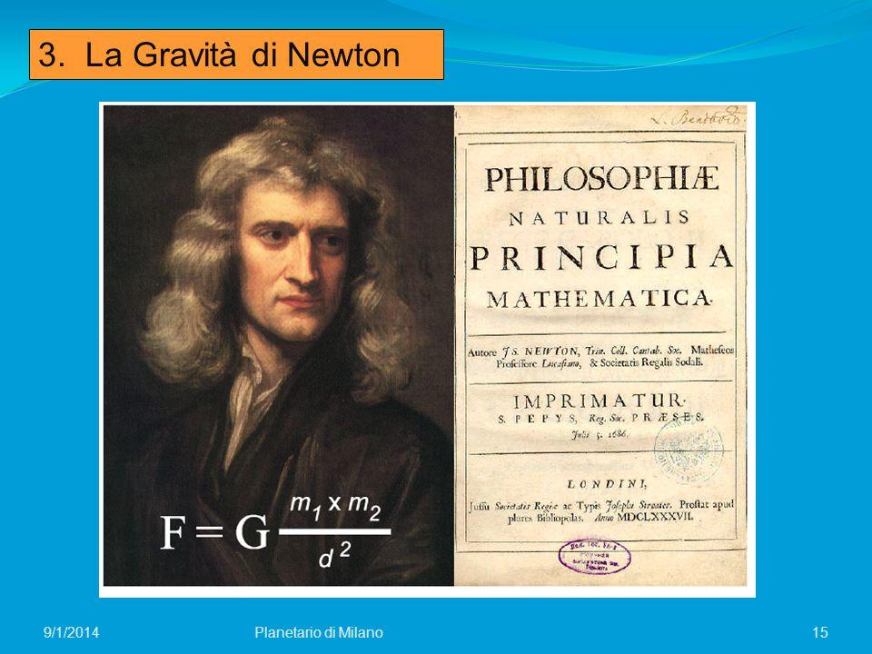 3. La Gravità di Newton 4/6/2017 Planetario di Milano