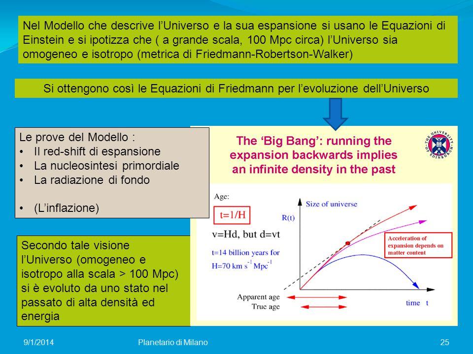 omogeneo e isotropo (metrica di Friedmann-Robertson-Walker)